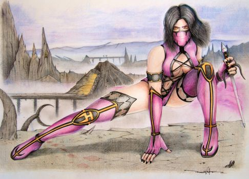 Mileena brings out the Sai by Schwarze1