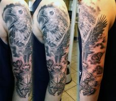 Eagle sleeve tattoo by gettattoo