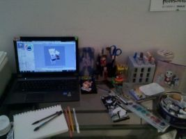Extremely messy desk is messy by NatWithLeCopic