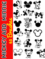 Mickey and Minnie Brushes by JessikaFernandes