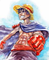 Luffy in Watercolor the Sequel by Zinfer