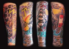 Leg sleeve tattoo by Hopeandglorytattoo