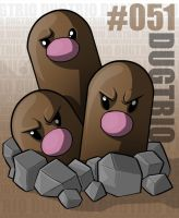 Pokemon: 051 Dugtrio by Xxid