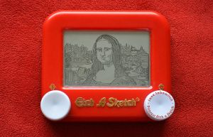 Mona Lisa on a pocket Etch A Sketch by pikajane