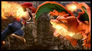 Super Smash Bros. Charizard Vs Mario by Sydraxe
