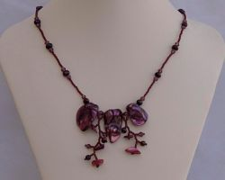 Wild orchid necklace, wine red N1363 by Fleur-de-Irk