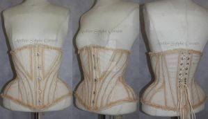 Tea dying underbust corset in pirate steampunk Edw by AtelierSylpheCorsets