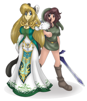 Zoey and Emilie Zelda Cosplaying by AkuOreo