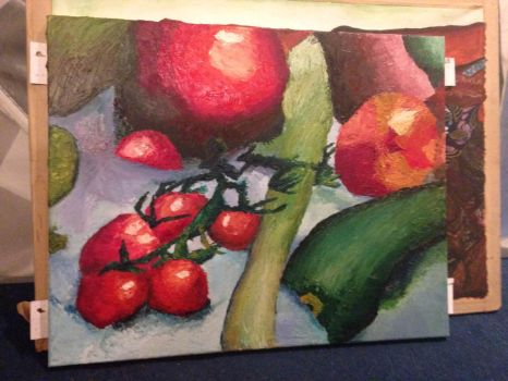 Landscape fruit and veg composition in oil paint by TheMaximusCatimus