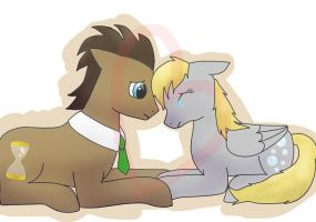 Dr Hooves and Derpy by livesfordrawings
