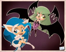 Felicia and Morrigan by Captain-Paulo