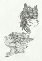 more pencil headshot examples- Seoul and Xi by monochromera