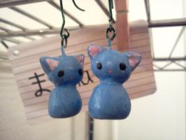 Blue Cat Earrings by Koneko-lynn