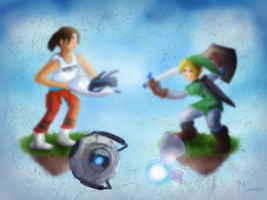 Chell vs Link - 'Legend of Portals' by cryptmonkey