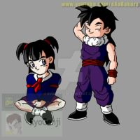 Gohan x Videl kids, first encounter (color) by RyoGenji