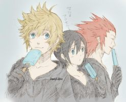 Roxas,Xion and Axel from Kingdom Hearts by DanyLibre