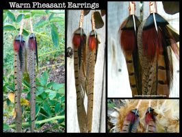 Warm Pheasant Feather Earrings by Arboris-Silvestre