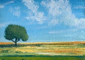 ACEO miniature landscape painting SHADY TREE by art-hack