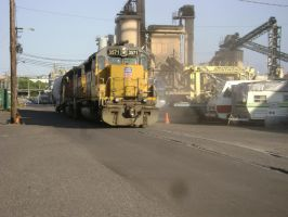 Union Pacific SD-40-2 in street-running 7-6-12 by Pb1kenobi