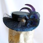 Grey Victorian Hat with Black Peacock Feathers by RagDolliesMadhouse