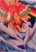 Lugia and Ho-Oh by DeidaraEmoArtist