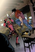 Deadpool Vs Wolverine Colored by cemiroz