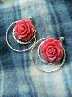 Coral Rose Earrings by DOC-Ash1391