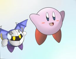 Kirby and Meta Knight by supereva01
