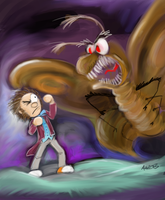 Plushie Felix vs. Giant Moth by hankinstein