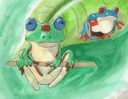 Me old tree frog painting by PencilSpecter