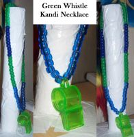 Green Whistle Kandi Necklace by anne-t-cats