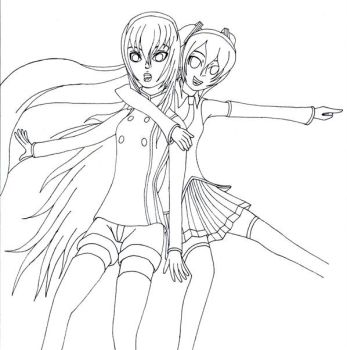 Miku+Luka(Outline) by AldarisGR