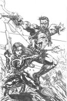 Punisher and Baroness by RudyVasquez