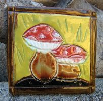 Small Mushrooms Tile by Verdego