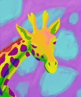 Giraffe in bright colours by femalefred