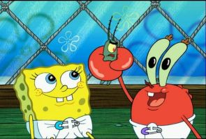 Baby me and Mr. Krabs Plankton by SpongebobSquareplz