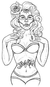 Day of the Dead Pinup Tattoo by Metacharis