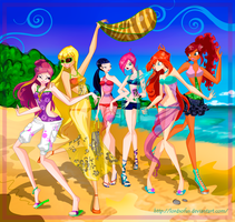 Winx on beach(for magazine) by LordSofus