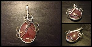 Red Agate Wire Wrapped Pendant by BlockheadGaming