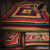 Giant Crochet Granny Square Blanket by Mindys-Person
