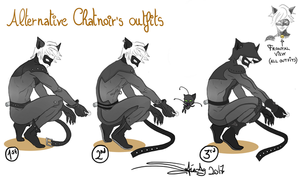 Chatnoir's updated outfits by Shesvii