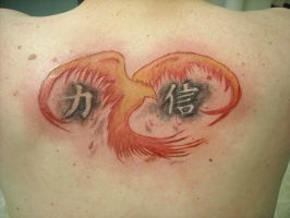 Phoenix with kanji in ashes by GreenHeethar