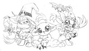 OMG clones - Gatomon by Daffupanda