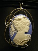 lady in blue silver simple wrapped cameo by BacktoEarthCreations