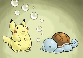 Pikachu Squirtle Bubbles by kittychasesquirrels