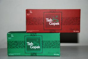 Teh Gopek Packaging by kn33cow