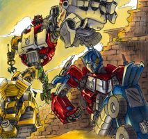Optimus Prime vs Devastator V2 by G1d4n