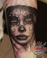 black and grey muerte by Ivan by HammersmithTattoo