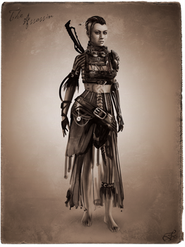 Tribal Steampunk Villain Concept: Assassin by DireImpulse