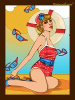 Beach Pin-up by womanwithagun